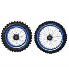 17''/14'' Blue Aluminum Complete Wheels Kit